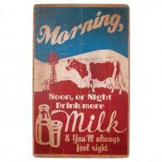 Distressed Retro Milk & Cow Sign