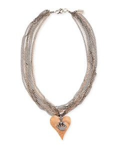 Hammered Pink Gold Heart Necklace with Diamond Crown by Irit Design at Neiman Marcus.
