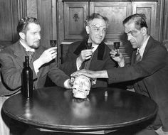 """Vincent Price, Joseph Schildkraut, and Boris Karloff photographed at the Fulton Theater in New York, June 3, 1942. Karloff was in """"Arsenic and Old Lace"""" at the time, while Price was in the Broadway production """"Angel Street"""". Schildkraut was an Austrian actor then appearing in a play called """"Uncle Harry"""". Twilight Zone fans will recognize Schildkraut as Becker in """"Deaths-Head Revisited"""" and John Holt in """"The Trade-ins""""."""