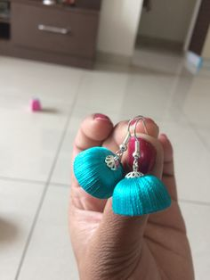 Simple blue and silver combination silk thread earrings
