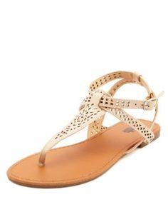 laser-cut t-strap thong sandals