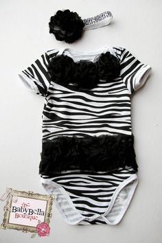 Black and white Baby Zebra Onesie and headband Set,  tutu onesies,Girl romper. via Etsy