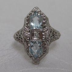 Art Deco Aquamarine & Diamond Ring with 14K White Gold Filigree Setting