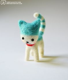 Blue Candy Cat needle felted plush by Furritales on Etsy:  So tiny and sweet!