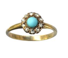 Late 1800s turquoise and rose-cut diamond ring, 14K gold, from Erie Basin via East Side Bride