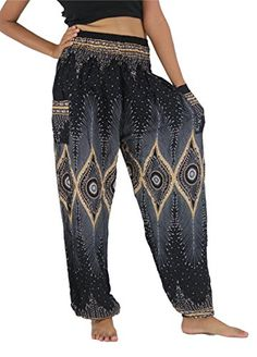NaLuck Womens Boho Hippie Peacock Jumpsuit Rayon Smocked Waist Yoga Aladdin Harem Pants PJ04Black Free Size >>> Find out more about the great product at the image link. (This is an affiliate link) #WomensActivePlusSize