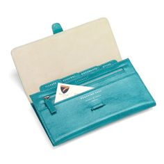 Classic Travel Wallet in Turquoise Lizard & Cream Suede from Aspinal of London