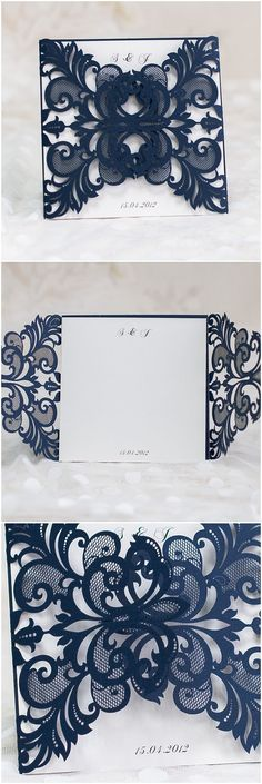 Elegant Navy Blue Laser Cut Wedding InvitationsVisit: inspirational-wedding.com for more ideas