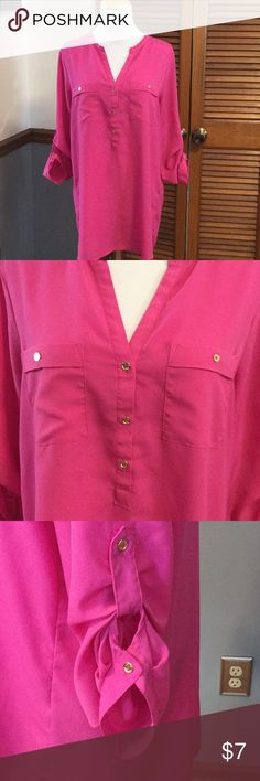 Calvin Klein blouse Super cute Calvin Klein top! Bright pink, has three buttons down the front. Sleeves can be worn down or buttoned up. Longer top, looks cute with leggings.  Comes from smoke free home. Calvin Klein Tops Blouses