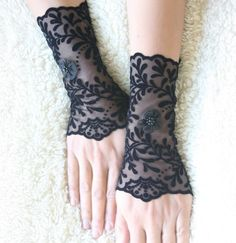 Black gloves velvet tulle cuffs mittens lace by MySecretFace, $26.00