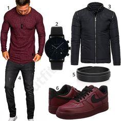 Herren-Style dunkelrotem Amaci&Sons Pullover und Nike Air Force Schuhen dazu schwarzer Gigandet Chronograph, Lederarmband, Bolf Jacke & A. Salvarini Jeans.