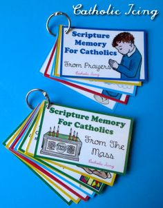 Could be addapted to other denominations.Change for Episcopal Rite I? Catholic Scripture Memory- Prayers and The Mass Catholic Schools Week, Catholic Religious Education, Catholic Crafts, Catholic Religion, Catholic Kids, Catholic Prayers, Bible Prayers, Teaching Religion, Scripture Cards
