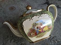 Antique Gold Gilded Sadler Cube English Bone China Teapot In Perfect Condition in Pottery, Porcelain & Glass, Pottery, Sadler | eBay