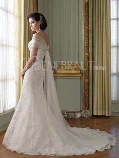 Herzförmig Spitzen Meejungfrau Hochzeitskleid mit Kapelle-Schleppe [#UD8649] - schoenebraut.com