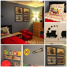 Train themed toddler boy bedroom (A Wide Line: From Nursery to Big Boy Bedroom: Trains, trains and more trains)
