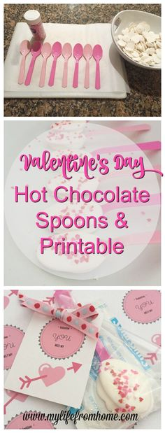 A quick but cute Valentine's Day gift idea!  Hot chocolate spoons, mix, and printable | My Life From Home | www.mylifefromhome.com