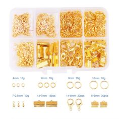 Pandahall Elite Jewelry Findings 1Box Alloy Lobster Claw Clasps,Iron Ribbon Ends,Brass Jump Rings,Alloy Drop End Pieces,Golden