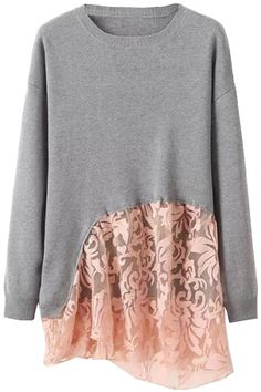 To find out about the Grey Round Neck Long Sleeve Lace Embellished Sweater at SHEIN, part of our latest Sweaters ready to shop online today! Warm Sweaters, Pullover Sweaters, Sweaters For Women, Cardigans, Feminine Style, Feminine Fashion, Women's Fashion, Patchwork Patterns, Long Sleeve