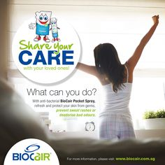 Say Yes to Personal Wellness!  Ever faced embarrassing problems such as nasty odours after a day's work, sweat rashes or other skin problems? Try BioCair Pocket Spray to refresh skin or disinfect bacteria and yeast on intimate areas to achieve peace of mind!