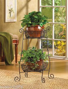 Wire Basket 2 Tier Plant Stand Metal Wire Plant Fruit Mail Double Basket NV39932