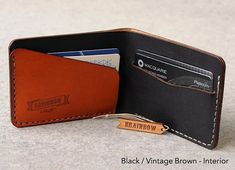 Bi-Fold Hand Stitched Slim Wallet by bRainbowshop on Etsy