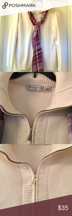 Liz Claiborne Woman Cream Zip Sweater Perfect winter white color. 100% cotton. In like new condition. No rips or stains. Silver zip up the front and pop the collar against the cold. Great for layering. An excellent addition to your closet. Great for sizes 14, 16, 18. Liz Claiborne Sweaters Cardigans