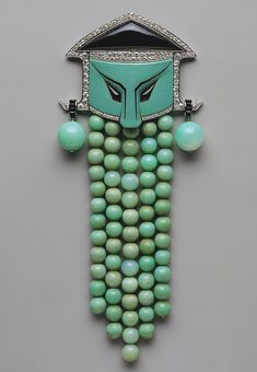 Dress ornament, ca. 1923 Georges Fouquet (French, 1862–1957) Jade, onyx, diamonds, enamel, platinum