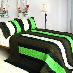 Minecraft Colors Teen Boy Bedding Full/Queen Quilt Set Lime Green Olive & Black Stripe