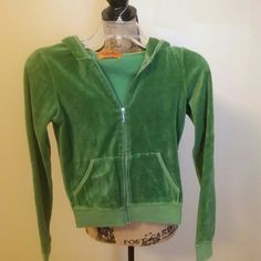 Juicy Couture Hoodie Emerald green velour hoodie with front pockets and front j zipper. Juicy Couture Tops Sweatshirts & Hoodies