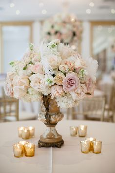 pink, gold, and feather centerpiece | Archetype Studios