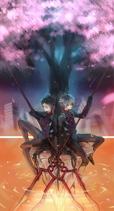 Shinji and Kaworu hold Longinus spears. the idea from Neon Genesis Evangelion - you can (not) redo Neon Genesis Evangelion, Ghibli, Anime Manga, Anime Art, Evangelion Kaworu, Hideaki Anno, Good Anime Series, Cowboy Bebop, Ghost In The Shell