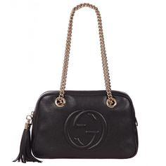 Gucci Black Leather Soho Chain Shoulder Bag (12 065 SEK) ❤ liked on Polyvore featuring bags, handbags, shoulder bags, black leather purse, black leather shoulder handbags, leather handbags, gucci shoulder bag and black leather handbags