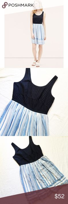 """LOFT Blue Eyelet Striped Dress (Size 12) The perfect dress for summer  Navy eyelet on top (100%) and super soft light blue & white stripe bottom (shell: 100% lyocell, lining: 10% modal). Back zip. Measures 19"""" from armpit to armpit, 15.5"""" laying flat at the high-waist, and 37"""" in length. Excellent condition! Reasonable offers welcome. LOFT Dresses"""