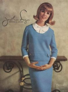 A great two piece dress, in cornflower blue, with the 3/4 length sleeves. Vintage Jonathan Logan.