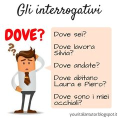 "GLI INTERROGATIVI Today we start to study the ""INTERROGATIVI"" that can be pronouns, adjectives or adverbs that are used to introduce an interrogative sentence. The ""interrogativo"" of the day is ""dove"" (where) that is an interrogative adverb of place that has an indeclinable form and so never changes. Do you know the meaning of the sentence I wrote in the picture? . . . #italianteacher #italianlessons #italianlanguage #learnitalian #italianonline #italianvocabulary #italiandictionary…"