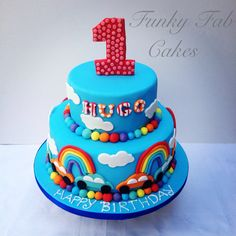 Rainbow boys 1st birthday cake(original design source from Pink cake box)
