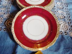 Six Red and Gold Decorative China Plates very Opulent von JanAvril, $12.00