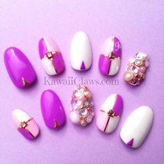Colorblock Monogram 3d false fake nails with bling by KawaiiClaws, $17.99