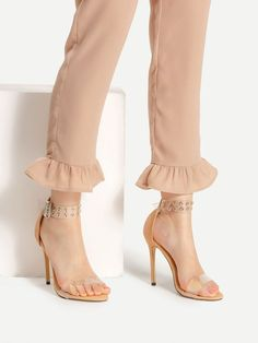 SheIn offers Eyelet Detail Clear Strap Stiletto Heeled Sandals & more to fit your fashionable needs. Kurti Sleeves Design, Sleeves Designs For Dresses, Pakistani Fashion Casual, Pakistani Dress Design, Salwar Pattern, Kurti Designs Party Wear, Stylish Dress Designs, Designer Wear, Fashion Pants
