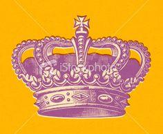 Purple Crown on Orange Background Royalty Free Stock Vector Art Illustration