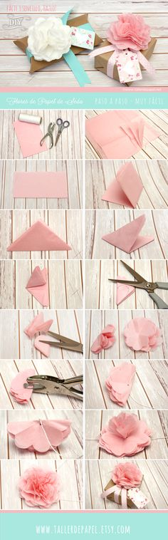 Origami Paso A Paso Facil Navidad Best Ideas Handmade Flowers, Diy Flowers, Fabric Flowers, Diy Paper, Paper Crafts, Tissue Paper Flowers, Flower Tutorial, Diy Tutorial, Flower Crafts