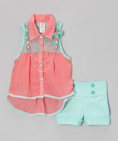 Pink & Teal Button-Up Tank Set  Kid Winc