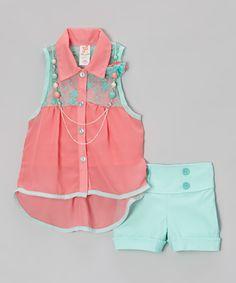 Pink & Teal Button-Up Tank Set  Kid Winc