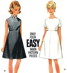1960s Dress Pattern Butterick 4997 Mod Empire Waist by paneenjerez, $10.00