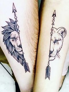 Matching tattoos are common especially with couples and act a way of showing their love. Persons sporting matching tattoos come closer to one another like never before. Below, we are going to mention matching lion tattoo designs and ideas. Mini Tattoos, Trendy Tattoos, Unique Tattoos, Tattoos For Guys, Popular Tattoos, Creative Tattoos, Feminine Tattoos, Tattoos For Women Small, Small Tattoos