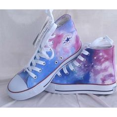 Custom Converse Galaxy Converse Sneakers Hand-Painted On Converse Shoes Canvas shoes featuring polyvore fashion shoes sneakers converse print shoes converse footwear converse sneakers canvas shoes waterproof footwear