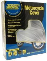 Motorcycle cover made from strong polyester material with mesh ventilation to protect against condensation. The cover is water and UV resistant and has an elasticated hem with reinforced grommets. Comes with a handy storage bag. Size: Medium.