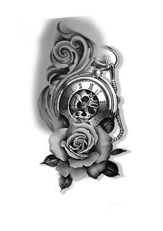 Skull Rose Tattoos, Rose Tattoos For Men, Sleeve Tattoos For Women, Black Tattoos, Body Art Tattoos, Tattoo Drawings, Tattoos For Guys, Pocket Watch Tattoo Design, Pocket Watch Tattoos