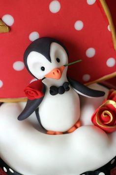 Sugar Penguin Cake Topper By CakeDutchess