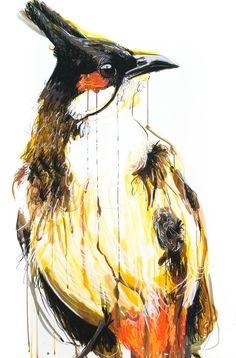 Meaghan Potter, BulBul, 2017, Watercolour, Ink and Conte Charcoal on Arches 300gsm Watercolour paper, 120 x 80 cm, .M Contemporary, Art Gallery, 37 Ocean St, Woollahra, NSW, enquire at gallery@mcontemp.com